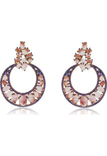 Brinco Luxo Com Cristal Coral Cravejado Com Zircônias Lilás Banhado Em Ouro Rosé