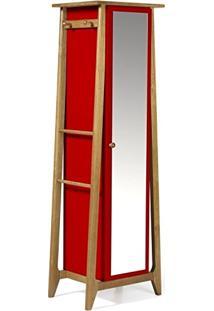 Armário Multiuso 1 Porta Stoka Maxima Nogal/Vermelho