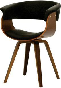 Cadeira Betina Estofada Em Pu Preto Com Base Madeira - 45021 - Sun House