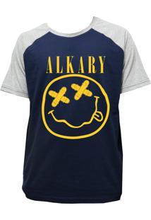 Camiseta Alkary Raglan Manga Curta Nirvana Marinho E Mescla