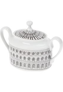 Fornasetti Açucareiro De Porcelana Estampado - Grey