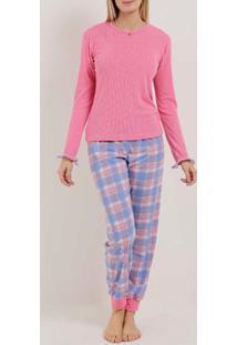 Pijama Longo Xadrez Feminino Rosa