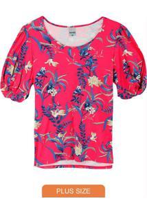 Blusa Rosa Tropical Conforto Plus