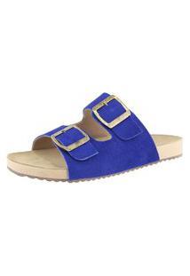 Sandália Birken Roma Shoes Em Couro Confort Azul Escuro