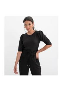 Blusa Texturizada Com Manga Curta Bufante | A-Collection | Preto | M
