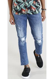 Calça Jeans Masculina Carrot Com Rasgos Azul Médio