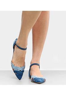 Sapatilha Couro Shoestock Bico Fino Color Feminina - Feminino