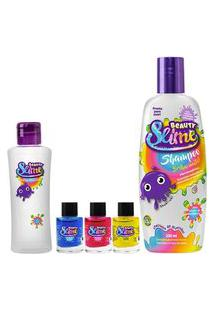 Kit Mix Beauty Slime Shampoo 200Ml + 1 Pote + 3 Corantes De 7Ml Cada