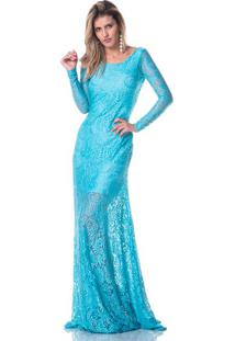 Vestido Longo Gisele Freitas De Renda Decotado Azul Turquesa