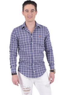 bcf41bcc7 ... Camisa Xadrez Horus Slim Social Estampada Azul 100231