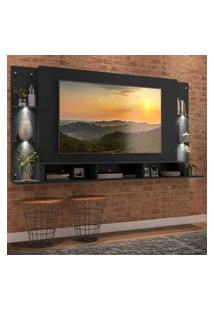 """Painel Tv 65"""" Com 4 Leds E Prateleiras De Vidro Vegas Premium Multimóveis Preto"""