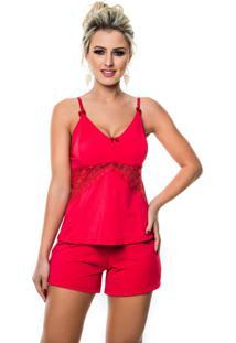 Short Doll Cherry Moda Íntima Básico Vermelho