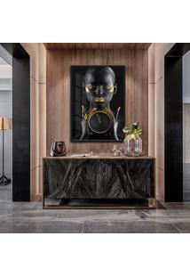 Quadro Luar 90X60Cm Mulheres Negras Maquiagem Dourada Moldura Vidro - Multicolorido - Dafiti
