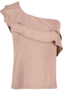 Blusa Feminina Em Tecido De Algodão E Modelagem Single Shoulder