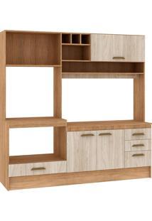 Cozinha Compacta Livia 4 Portas Com Tampo Carvalho/Blanche - Fellicci