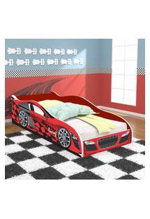 Cama Solteiro / Cama Carro Speedy Racing New 188X88 Cm - Vermelha/Branco - Rpm Móveis