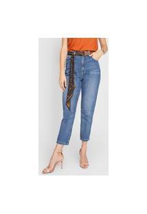 Calça Cropped Jeans Forum Mom Ana Azul