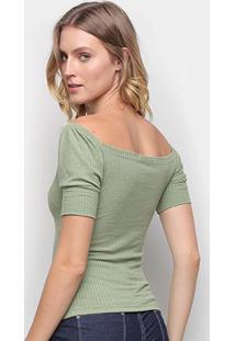 Blusa Volare Canelada Decote Quadrado Feminina - Feminino-Verde