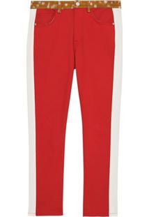 Burberry Calça Jeans Reta Com Estampa - Vermelho