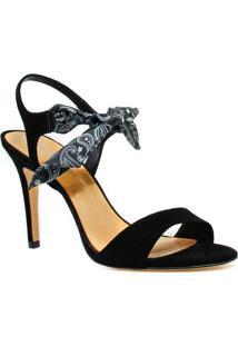 Sandália Zariff Shoes Salto Nobuck Lenço - Feminino-Preto