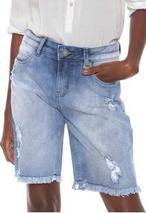 Bermuda Jeans Lunender Reta Estonada Azul