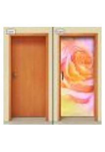 Adesivo Decorativo De Porta - Flor - Rosa - 1019Cnpt