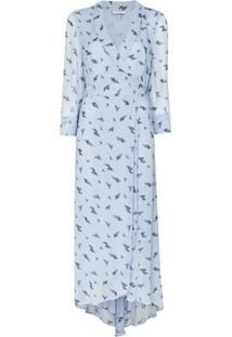 Ganni Vestido Midi Envelope Com Estampa Floral - Azul