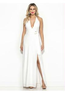 Vestido Longo Off White Com Fenda