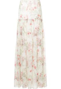Giambattista Valli Vestido Longo Floral - Branco