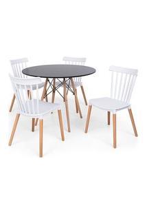Conjunto Mesa Eiffel Preta 100Cm + 4 Cadeiras Windsor - Branco