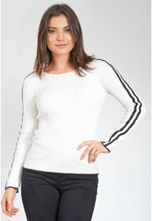Blusa Facinelli By Mooncity Tricot Listras Laterais Off-White