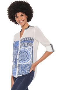 Camisa Desigual Blue Empaty Branca/Azul