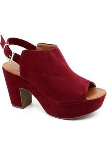 Sandália Plataforma Bebecê - Feminino-Vinho