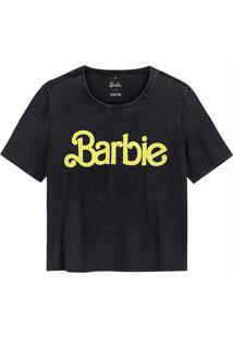 Blusa Preta Cropped Barbie®
