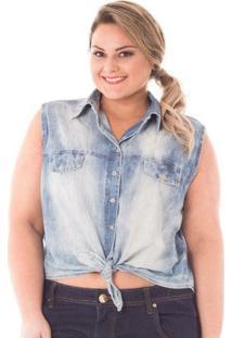 Camisa Confidencial Extra Plus Size Jeans Cropped Com Amarração Feminina - Feminino-Azul