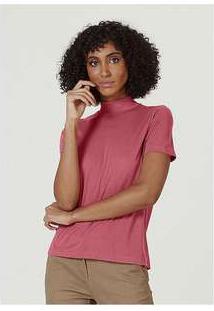 Blusa Básica Feminina Em Liocel Gola Alta Oversized