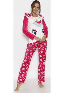 Pijama Soft Unicórnio- Branco & Rosa- Puketpuket