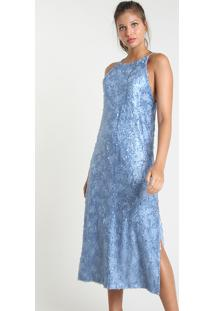 Vestido Feminino Mindset Midi Halter Neck Com Paetês Alça Fina Azul Claro