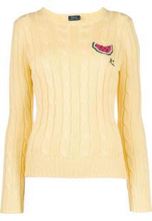 Polo Ralph Lauren Suéter De Tricô Com Logo - Amarelo