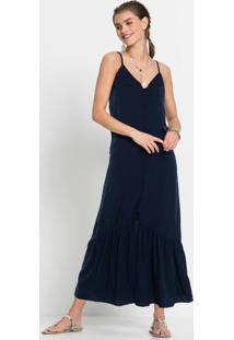 Vestido De Botões Azul Marinho