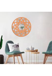 Escultura De Parede Wevans Mandala Abstract, Madeira + Espelho Decorativo