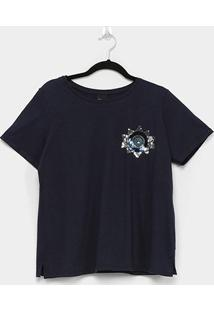 Camiseta Enfim Ampla Feminina - Feminino-Azul+Marinho