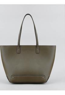 Bolsa Shopper Feminina Grande Com Alça Fixa Verde Oliva