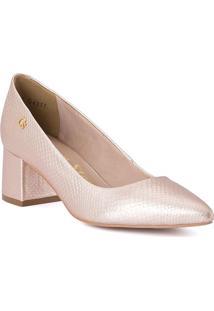 Sapato Tradicional Em Couro- Rosê Gold- Salto: 5Cmcarmen Steffens