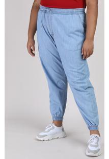 Calça Jeans Feminina Plus Size Jogger Cintura Alta Azul Claro