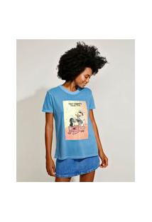 T-Shirt Feminina Mindset Pato Donald Manga Curta Decote Redondo Azul