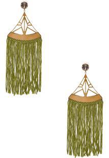 Brinco Metal Vazado - Verde