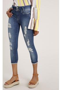 Calça Jeans Feminina Sawary Cropped Cintura Alta Destroyed Azul Médio
