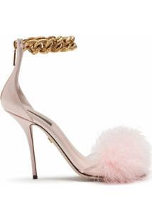 Dolce & Gabbana Sandália Com Aplicação De Penas E Salto 105Mm - Rosa
