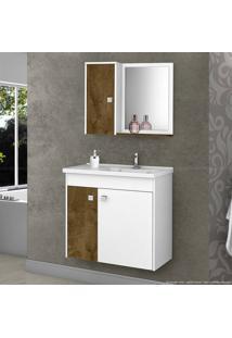 Gabinete Com Espelho Munique 100% Mdf Madeira Rústica/Branco - Móveis Bechara
